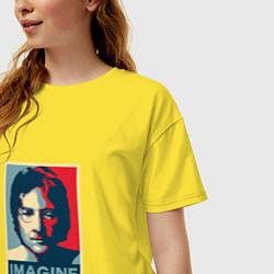 Футболка оверсайз женская Lennon Imagine цвета желтый — фото 2