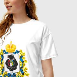 Футболка оверсайз женская Хабаровский край цвета белый — фото 2