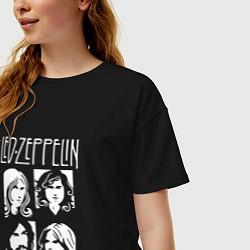 Футболка оверсайз женская Led Zeppelin Band цвета черный — фото 2