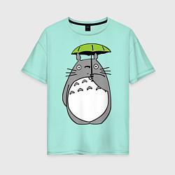 Футболка оверсайз женская Totoro с зонтом цвета мятный — фото 1