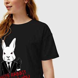 Футболка оверсайз женская Misfits: White rabbit цвета черный — фото 2