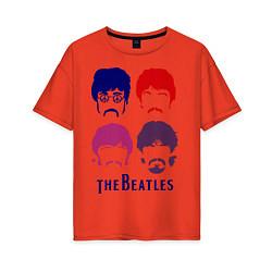 Футболка оверсайз женская The Beatles faces цвета рябиновый — фото 1