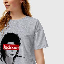 Футболка оверсайз женская Michael Jackson Supreme цвета меланж — фото 2