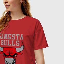 Футболка оверсайз женская Gangsta Bulls цвета красный — фото 2