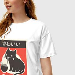 Футболка оверсайз женская Котик и рамен цвета белый — фото 2
