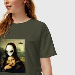 Футболка оверсайз женская Mona Lisa цвета меланж-хаки — фото 2