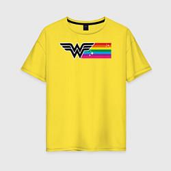 Футболка оверсайз женская Wonder Woman Rainbow Logo цвета желтый — фото 1