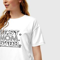 Футболка оверсайз женская Лучшая мама на свете цвета белый — фото 2