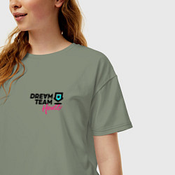Футболка оверсайз женская Dream Team logo цвета авокадо — фото 2