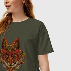 Женская удлиненная футболка с принтом Меха Лиса Steampunk Fox Z, цвет: меланж-хаки, артикул: 10289812705825 — фото 2