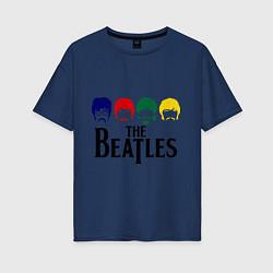 Футболка оверсайз женская The Beatles Heads цвета тёмно-синий — фото 1