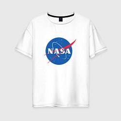 Футболка оверсайз женская NASA: Logo цвета белый — фото 1