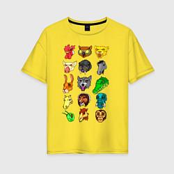 Футболка оверсайз женская Hotline Miami Masks цвета желтый — фото 1