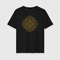 Футболка оверсайз женская Золотой цветок цвета черный — фото 1