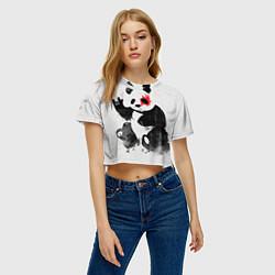 Футболка 3D укороченная женская Рок-панда цвета 3D — фото 2