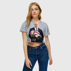 Футболка 3D укороченная женская Путин: с 8 марта цвета 3D-принт — фото 2