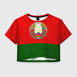 Футболка 3D укороченная женская Герб Беларуси цвета 3D — фото 1