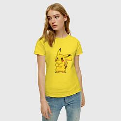 Футболка хлопковая женская Злой Пикачу цвета желтый — фото 2