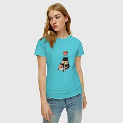 Футболка хлопковая женская Милый Соевый соус цвета бирюзовый — фото 2