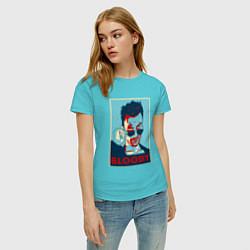 Футболка хлопковая женская Bloody Poster цвета бирюзовый — фото 2
