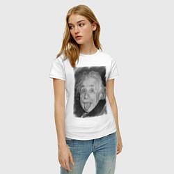 Футболка хлопковая женская Энштейн дурачится цвета белый — фото 2