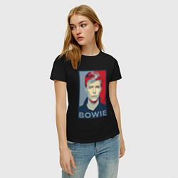 Футболка хлопковая женская Bowie Poster цвета черный — фото 2