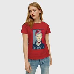 Футболка хлопковая женская Bowie Poster цвета красный — фото 2