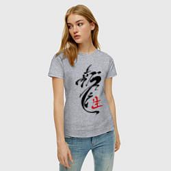 Футболка хлопковая женская Иероглиф дракон цвета меланж — фото 2