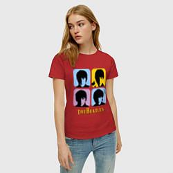 Футболка хлопковая женская The Beatles: pop-art цвета красный — фото 2