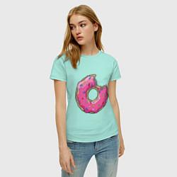 Футболка хлопковая женская Пончик Гомера цвета мятный — фото 2