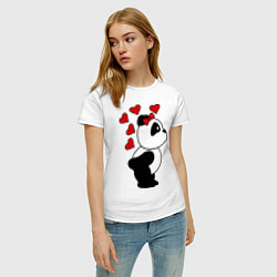 Футболка хлопковая женская Поцелуй панды: для нее цвета белый — фото 2