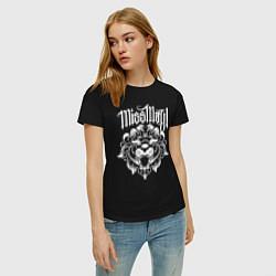 Футболка хлопковая женская Miss May I: Angry Lion цвета черный — фото 2