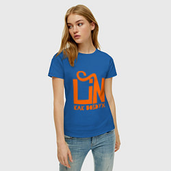 Футболка хлопковая женская Lin: как воздух цвета синий — фото 2
