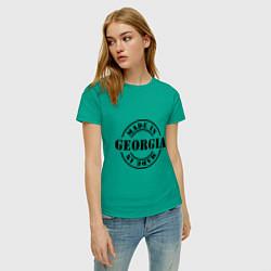 Футболка хлопковая женская Made in Georgia (сделано в Грузии) цвета зеленый — фото 2