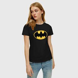 Футболка хлопковая женская Batman цвета черный — фото 2