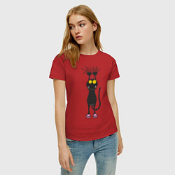 Футболка хлопковая женская Висящий кот цвета красный — фото 2