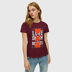 Футболка хлопковая женская LOVE DEATH ROBOTS LDR цвета меланж-бордовый — фото 2