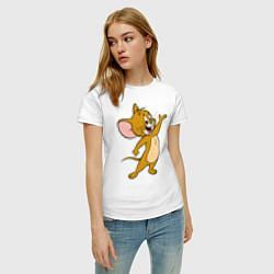 Футболка хлопковая женская Happy Jerry цвета белый — фото 2