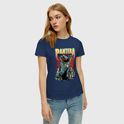 Футболка хлопковая женская Pantera цвета тёмно-синий — фото 2