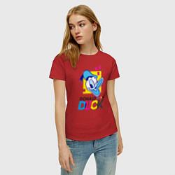 Футболка хлопковая женская Дональд Дак цвета красный — фото 2
