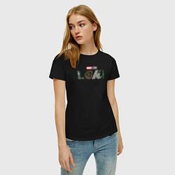 Футболка хлопковая женская Локи Marvel белый лого цвета черный — фото 2