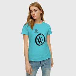 Футболка хлопковая женская Volkswagen цвета бирюзовый — фото 2