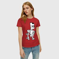 Футболка хлопковая женская Bart Simpsons Zombie цвета красный — фото 2