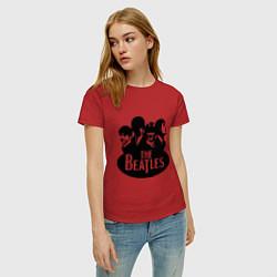 Футболка хлопковая женская The Beatles Band цвета красный — фото 2