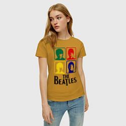 Футболка хлопковая женская The Beatles: Colors цвета горчичный — фото 2