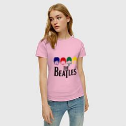 Футболка хлопковая женская The Beatles Heads цвета светло-розовый — фото 2