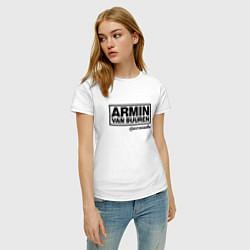 Футболка хлопковая женская Armin van Buuren цвета белый — фото 2